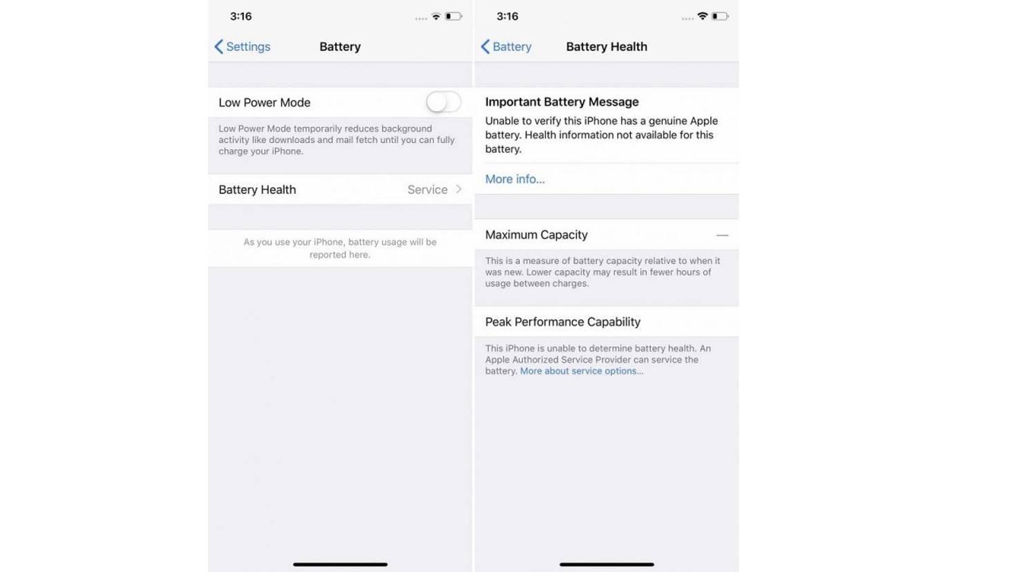 iPhone Battery Health Anzeige