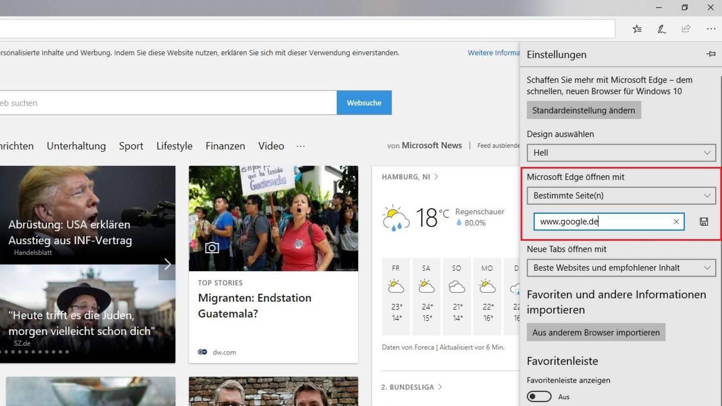Microsoft Edge Startseite festlegen