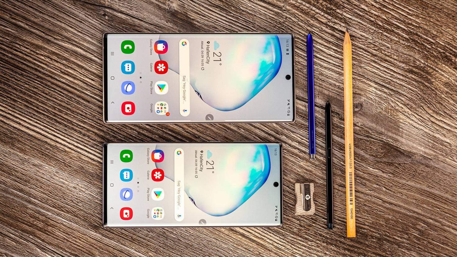 Galaxy Note 10 10 Plus im Größenvergleich