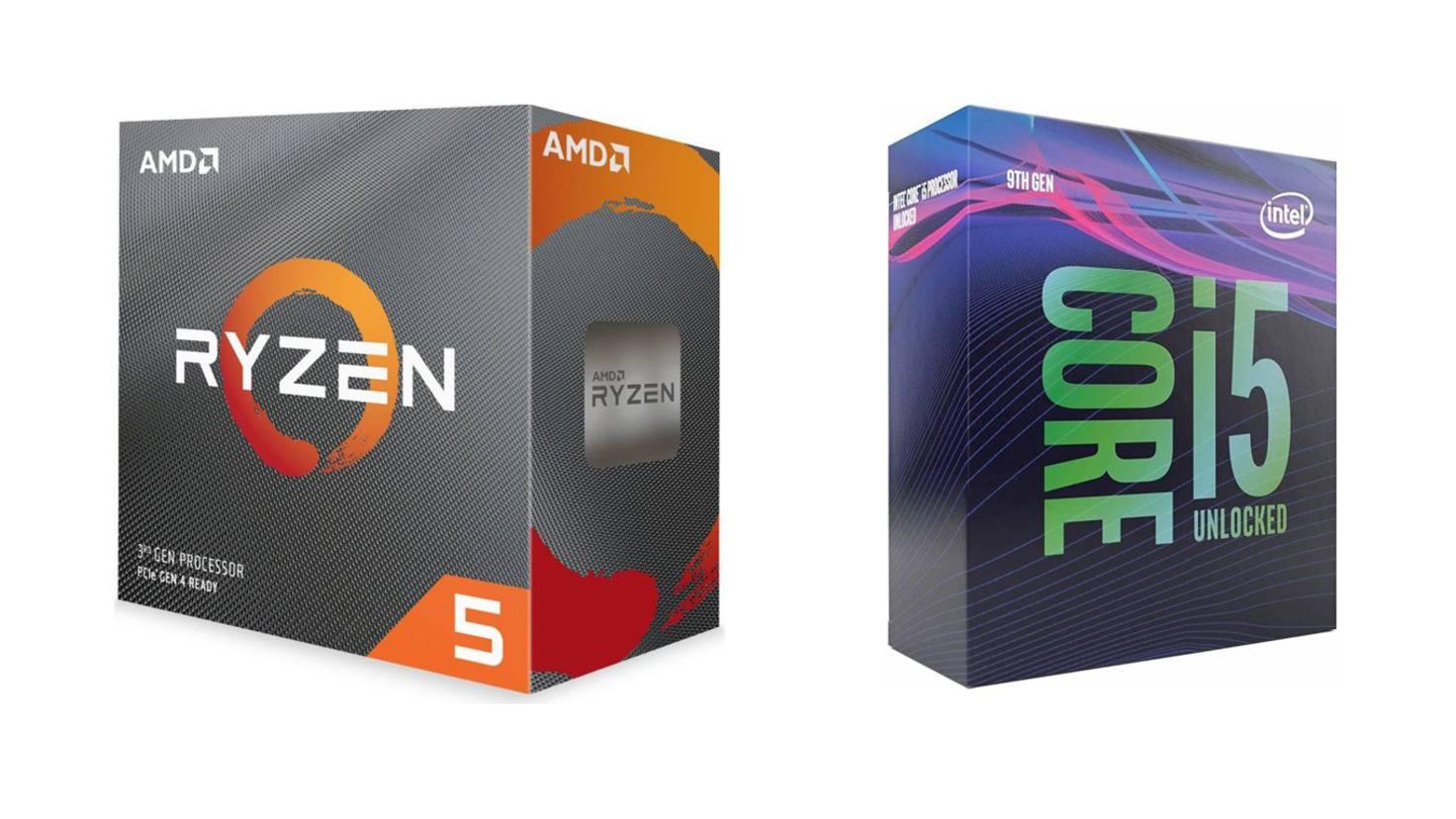 amd-ryzen-3600-intel-core-i5-9600k-prozessor-chip