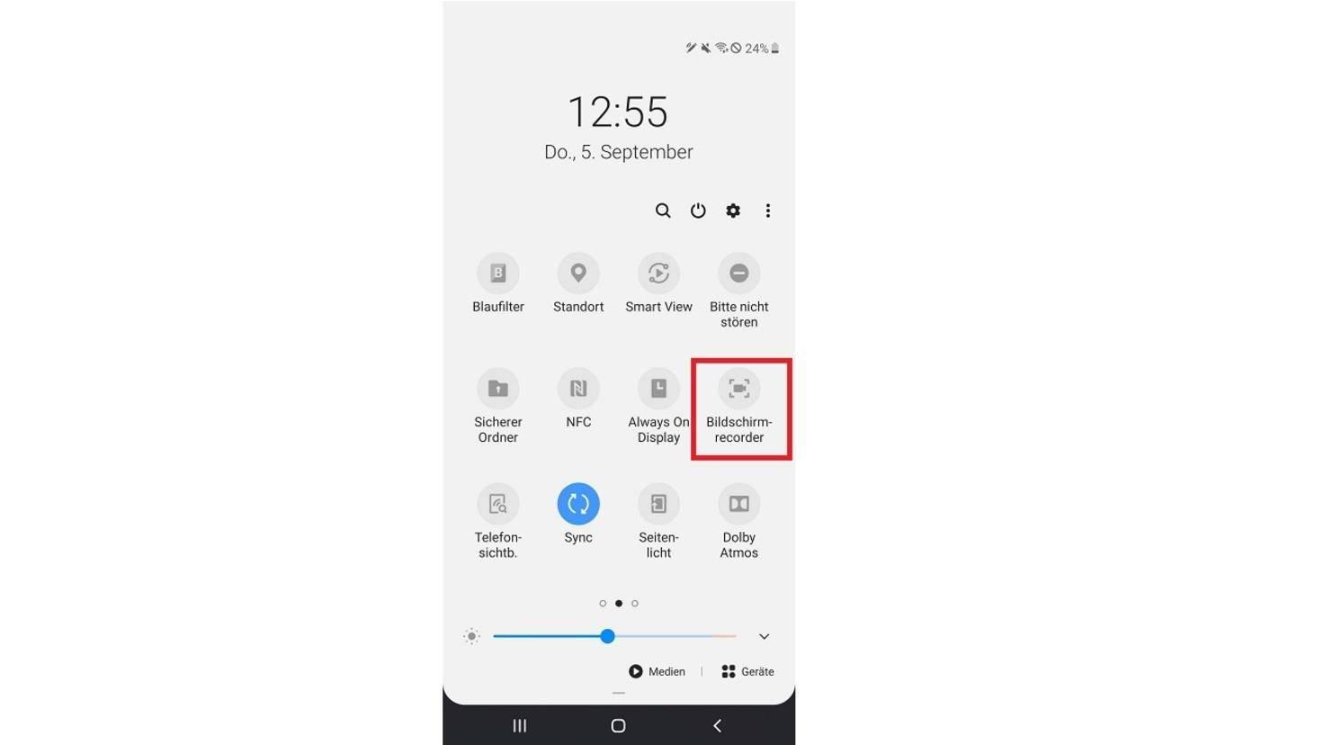 Galaxy Note 10 Bildschirmrecorder