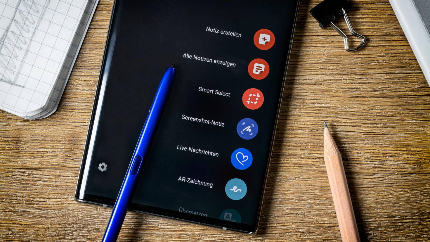 Galaxy Note 10 S Pen mit Menü