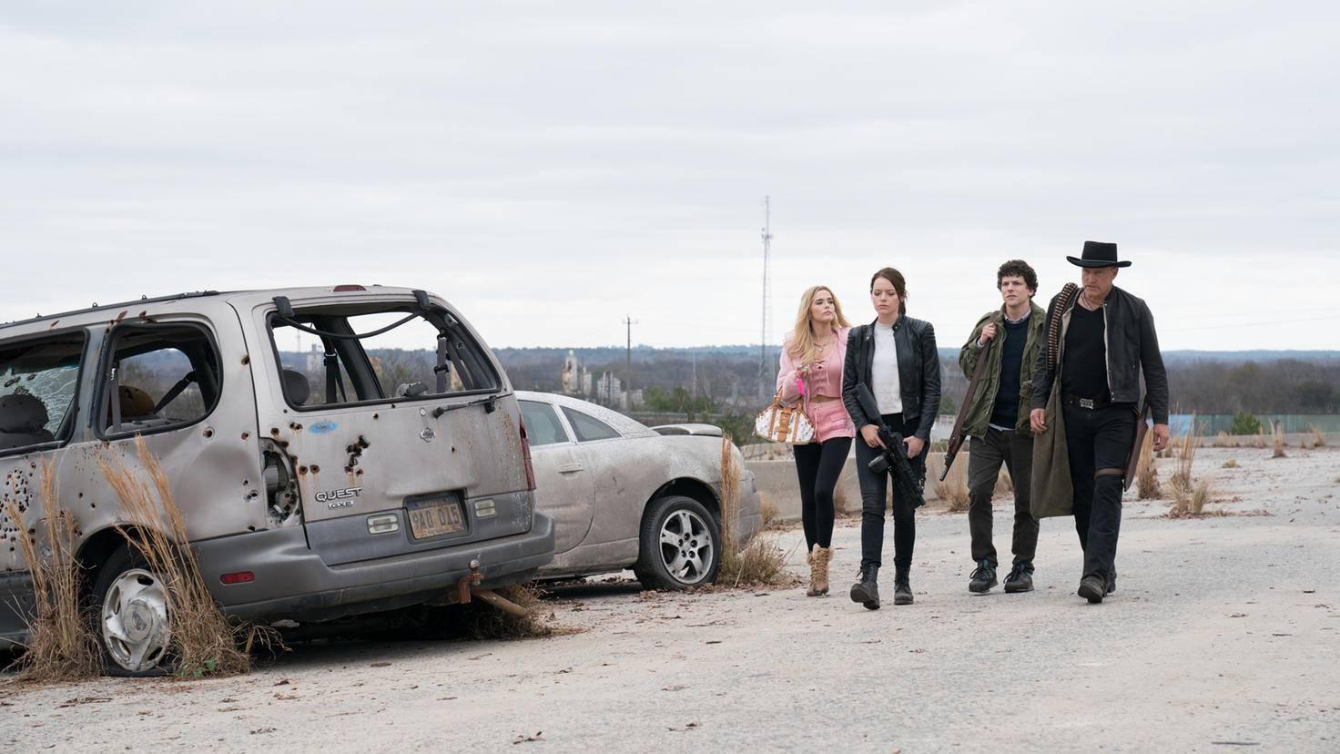 Zoey Deutch, Emma Stone, Jesse Eisenberg und Woody Harrelson in Zombieland 2
