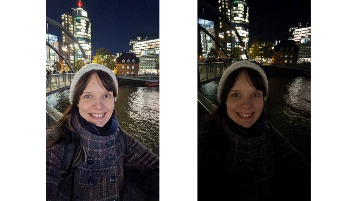 Pixel 4 Selfie mit und ohne Nachtmodus