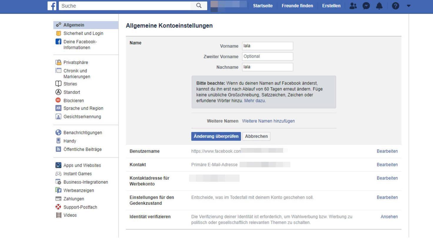 facebook-name-aendern
