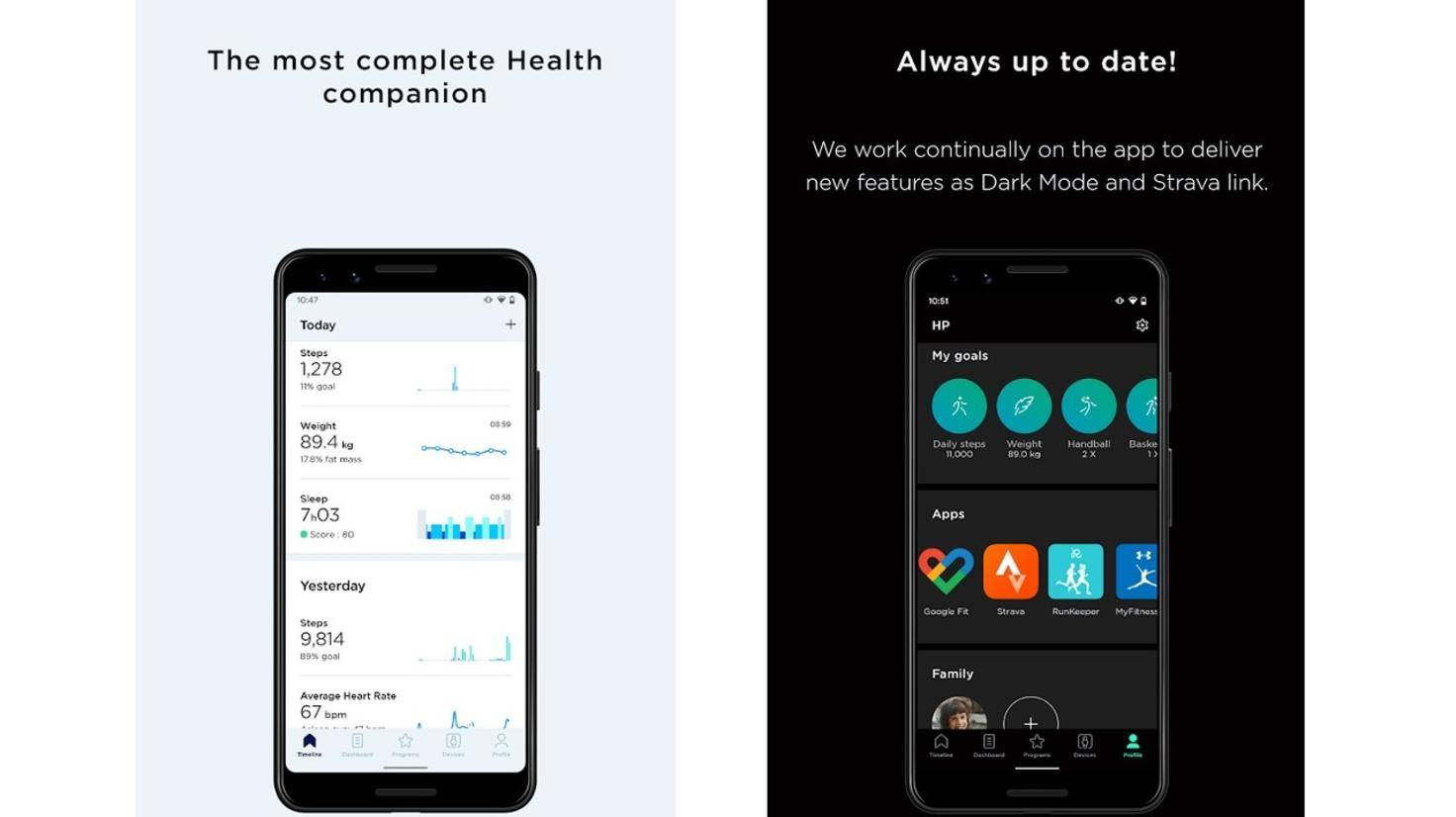Withings Health Mate App Dark Mode Android