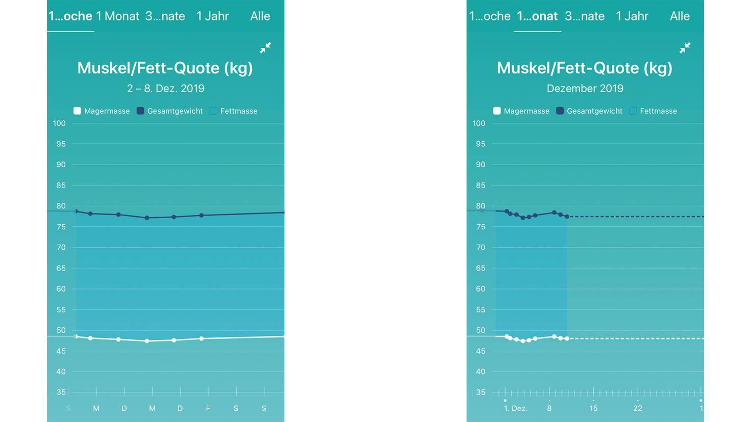 """Keine Ahnung, was mir der """"Fettmasse""""-Bereich sagen soll. Besser wäre es, Durchschnittswerte zum Vergleich zu erhalten."""
