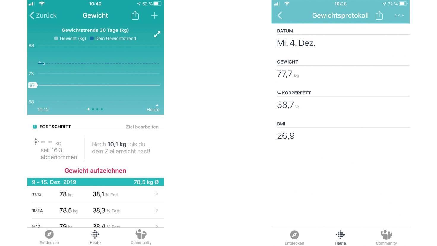 Übersicht Fitbit App