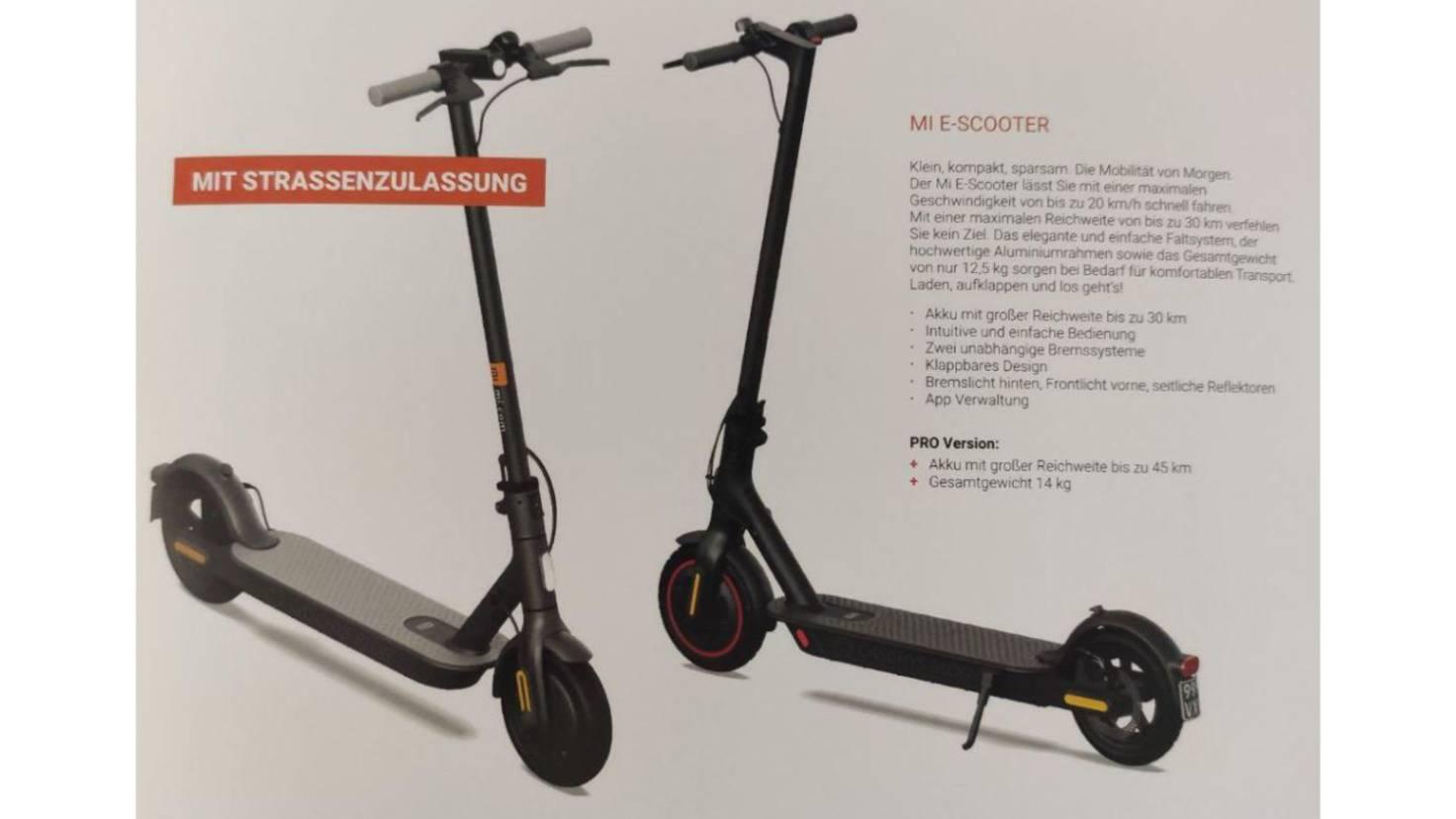 Zwei Mi E-Scooter Modelle im Messe-Katalog