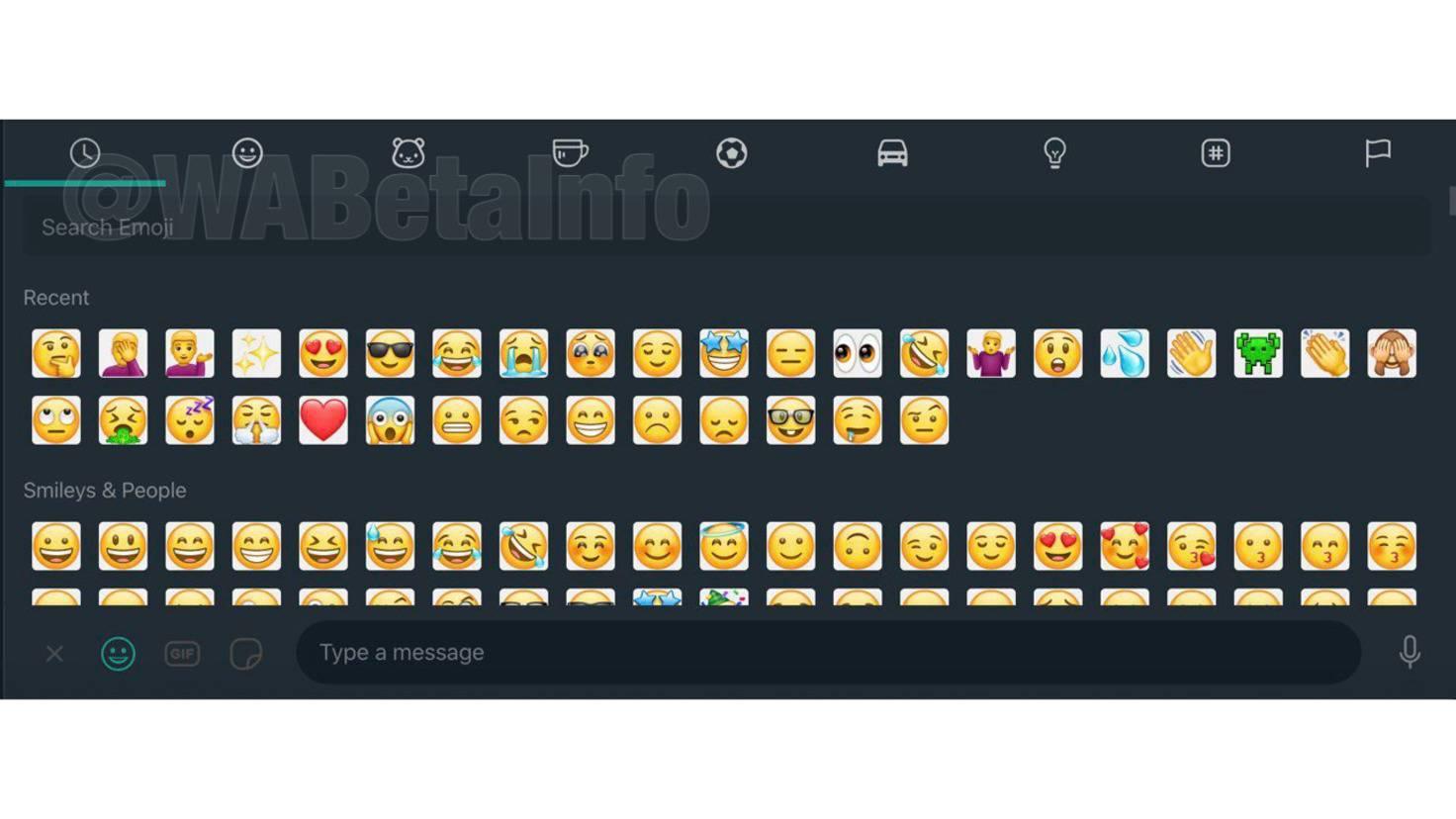 WhatsApp dark mode emoji