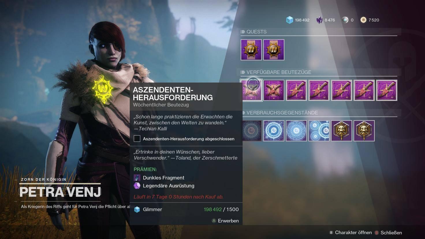 Destiny 2 Petra Venj Inventar