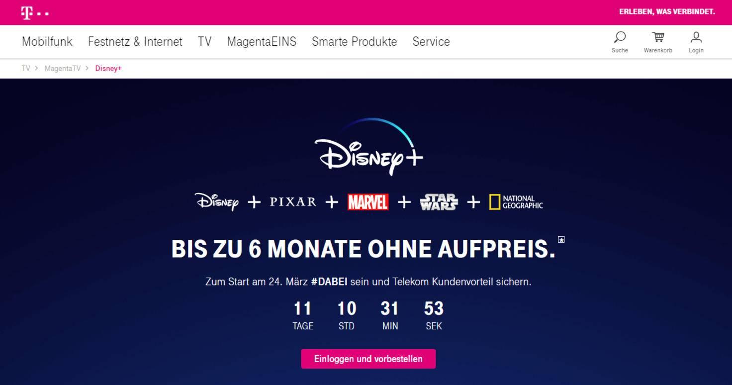 Der Countdown läuft: Bald gibt's Disney+ kostenlos für Telekom-Kunden.
