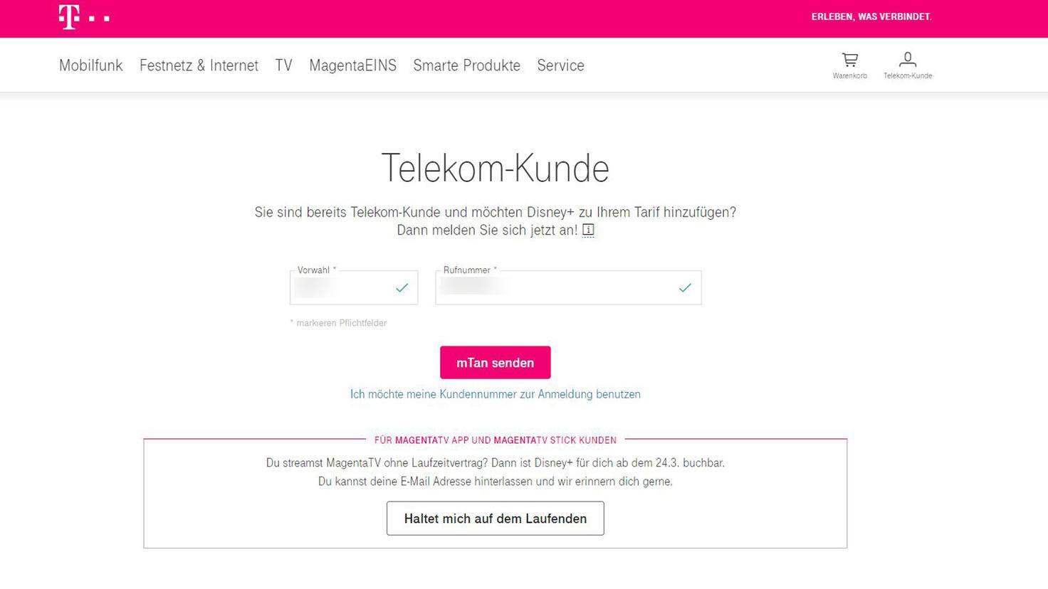 Sind die Daten korrekt? Dann bekommst Du von der Telekom eine mTan zugeschickt.