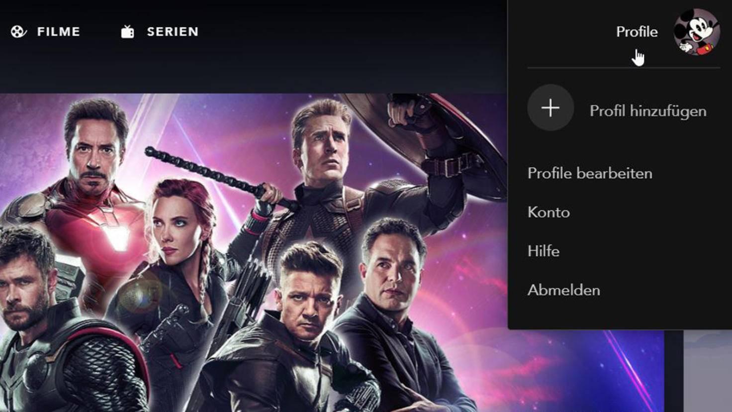Disney+ Startseite Profil