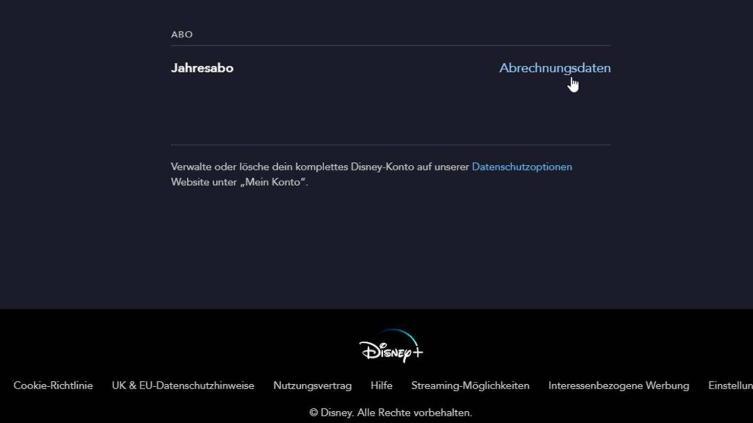 Disney+ Wechsel zu Abrechnungsdaten