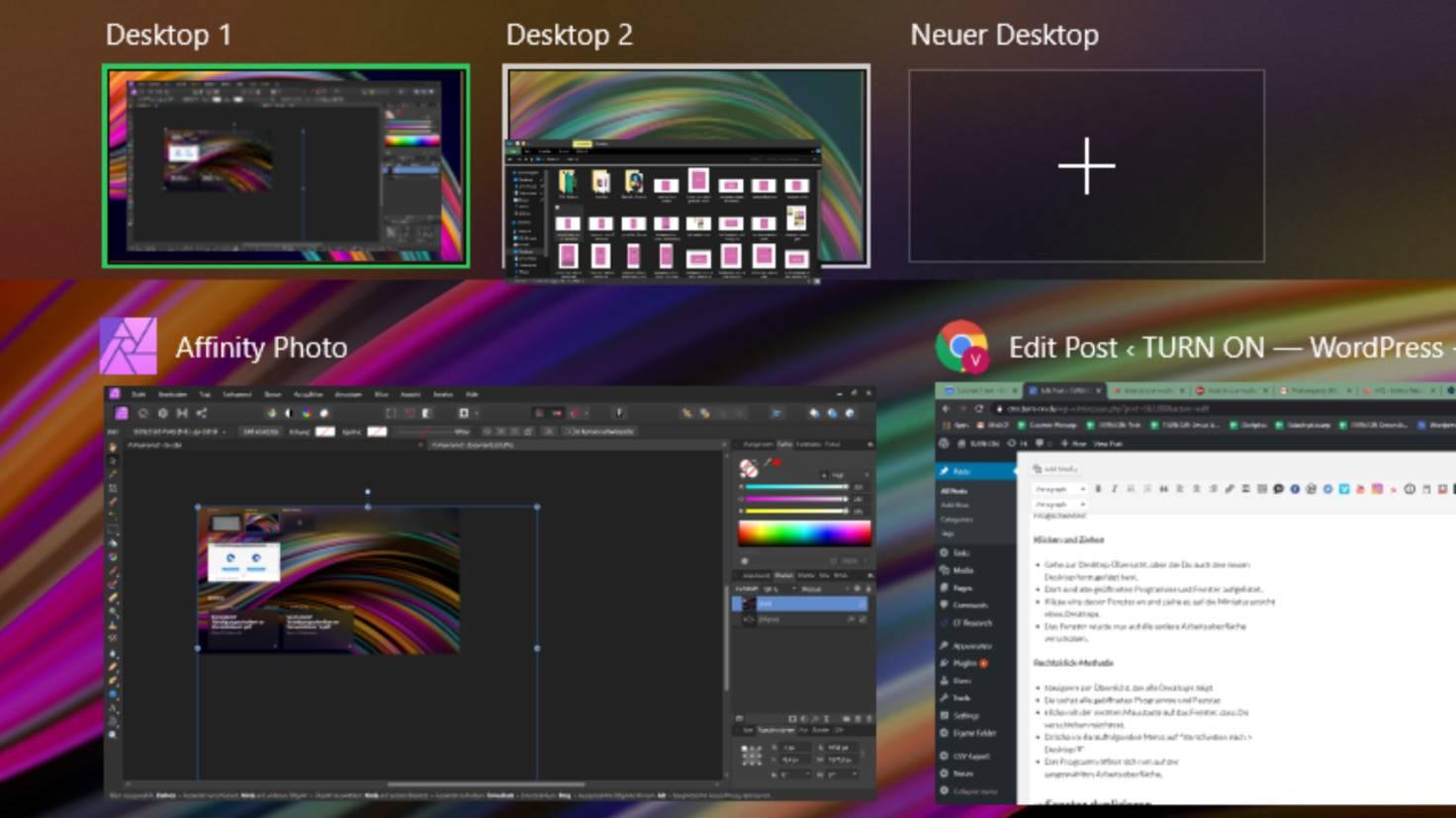 Fenster zwischen Desktops wechseln