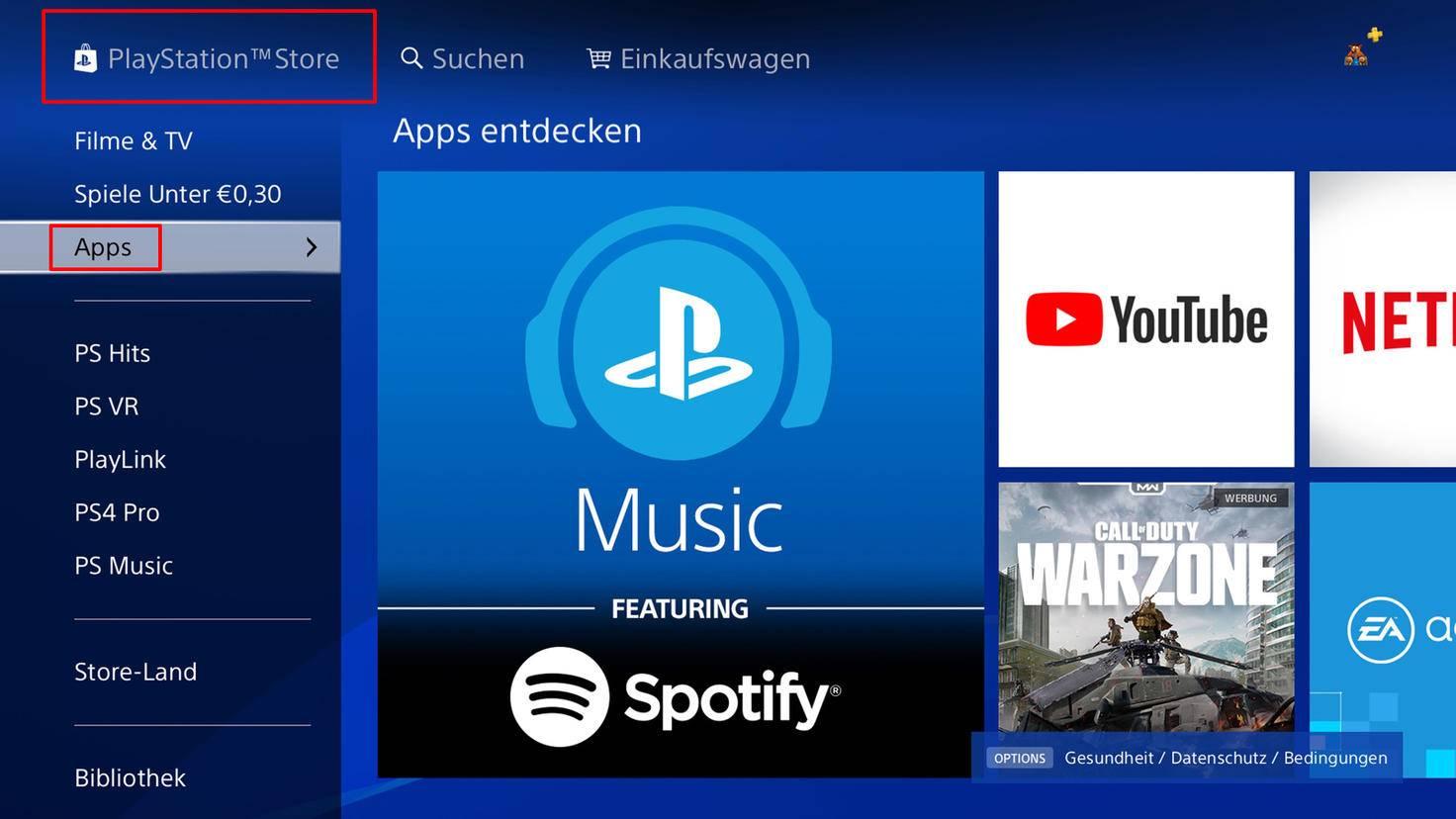 """Gehe in den PlayStation-Store und wähle den Bereich """"Apps"""" aus."""