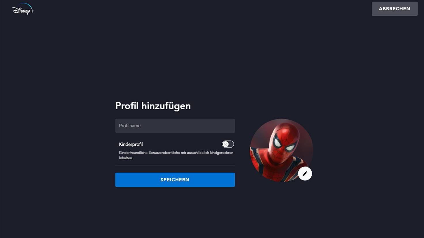 Profil hinzufügen