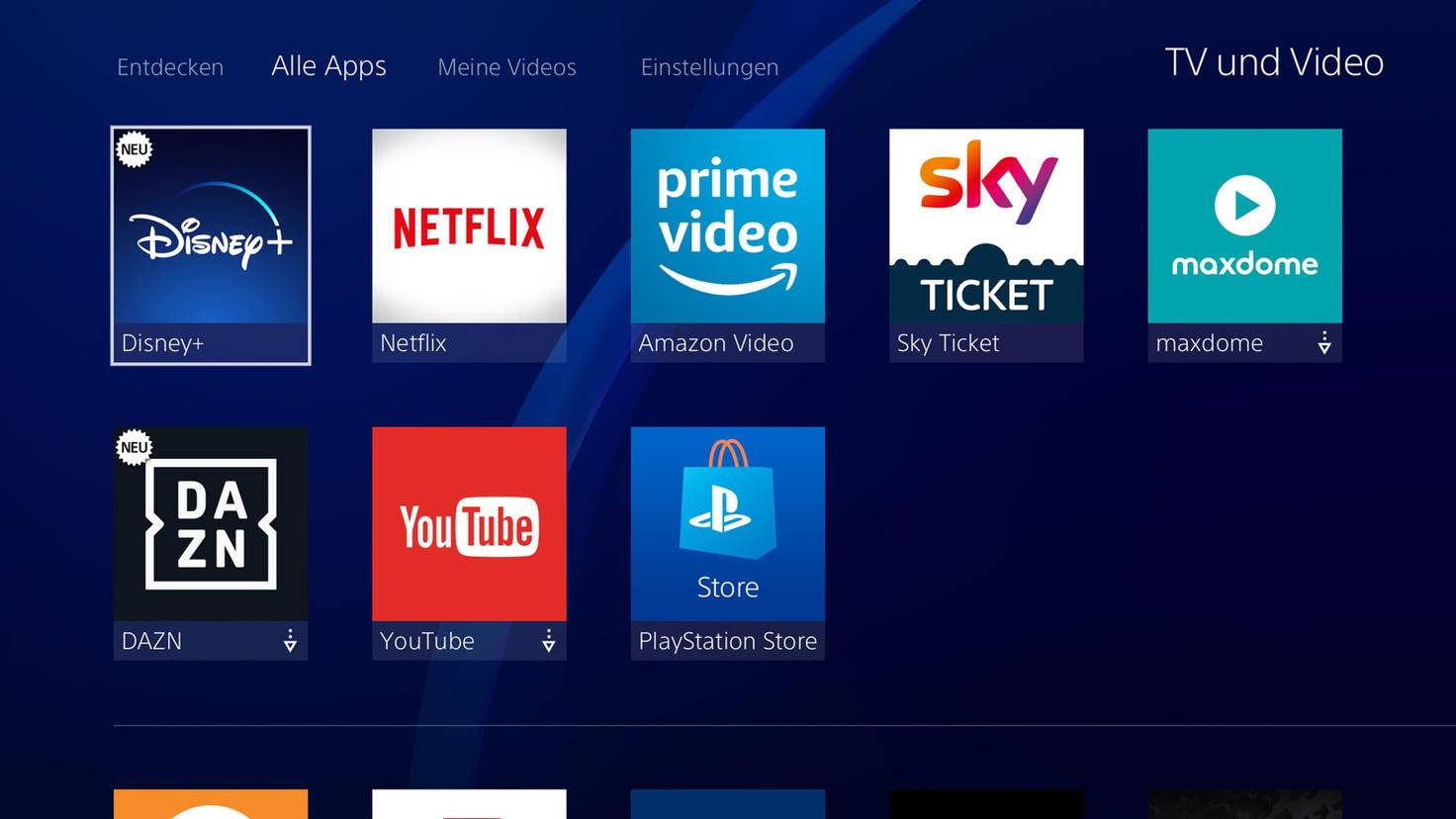 PS4 TV und Video