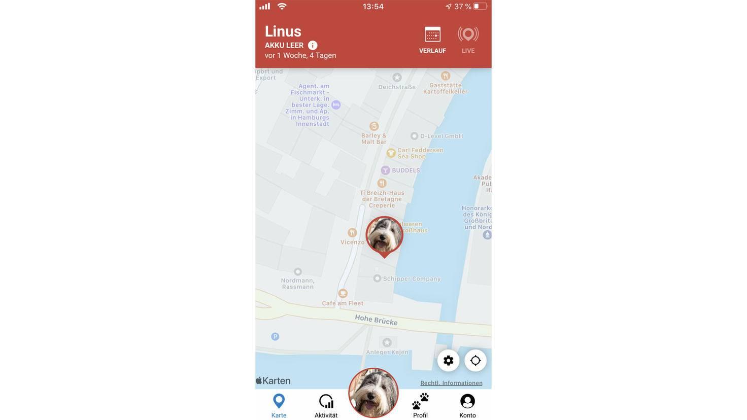 Ist der Live-Modus aktiviert, kannst Du genau nachverfolgen, wo Dein Hund herumgelaufen ist.