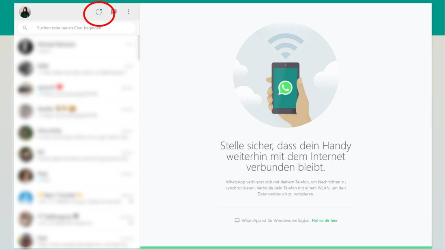WhatsApp web status