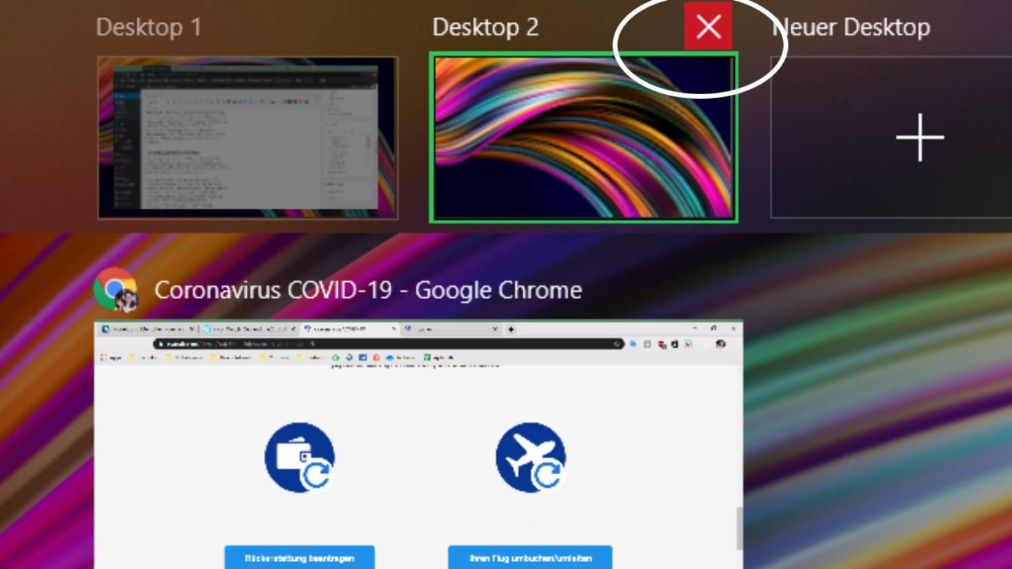 desktop schließen