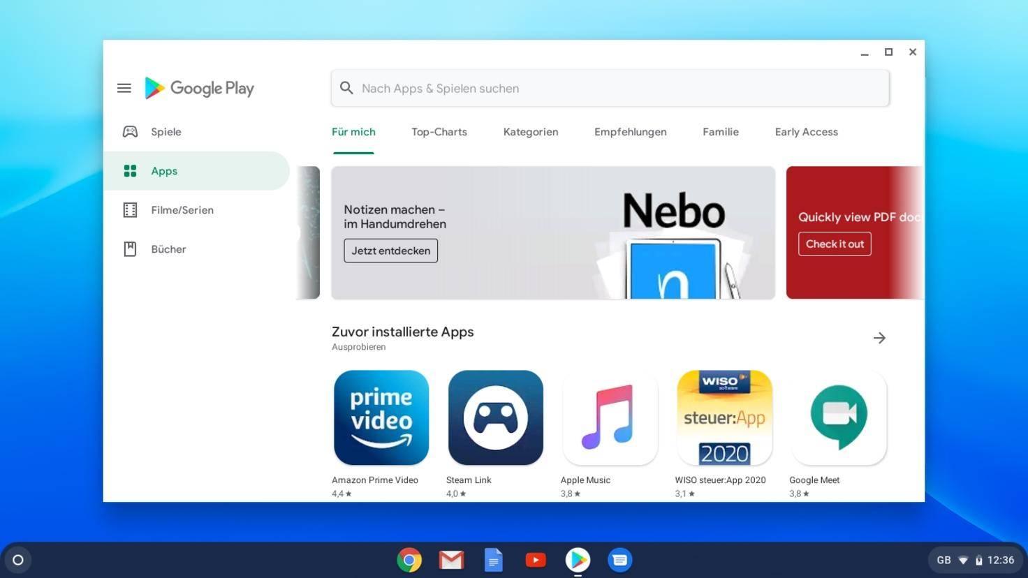So sieht der Google Play Store auf einem Chromebook aus.