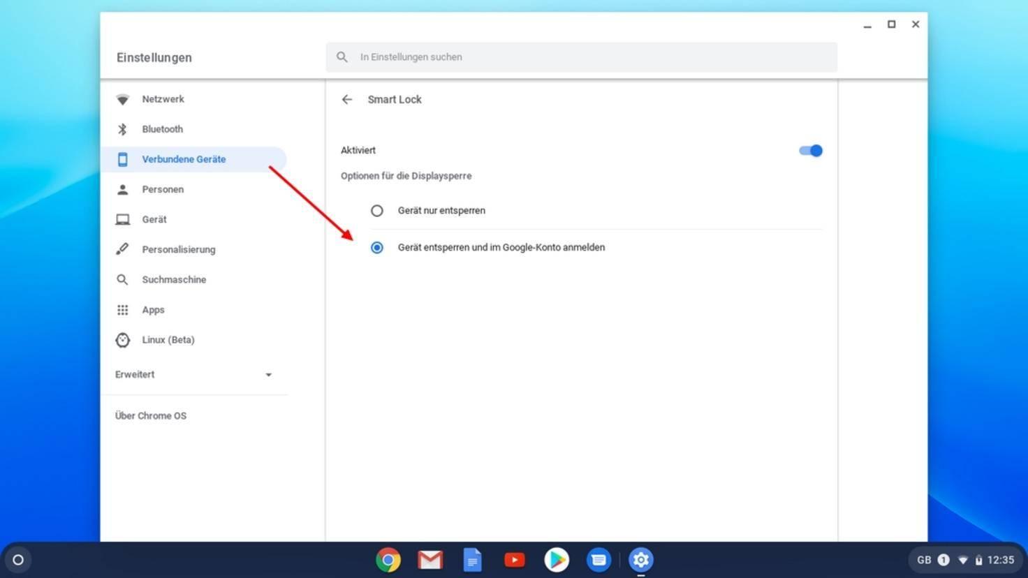 Aktiviere auch das Einloggen in das Google-Konto via Smart Lock.