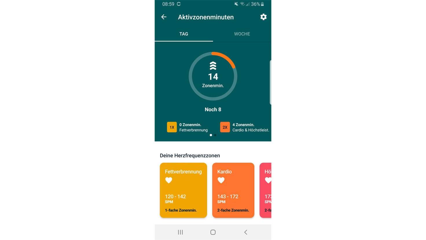 Fitbit Charge 4 Aktivitätszonenminuten