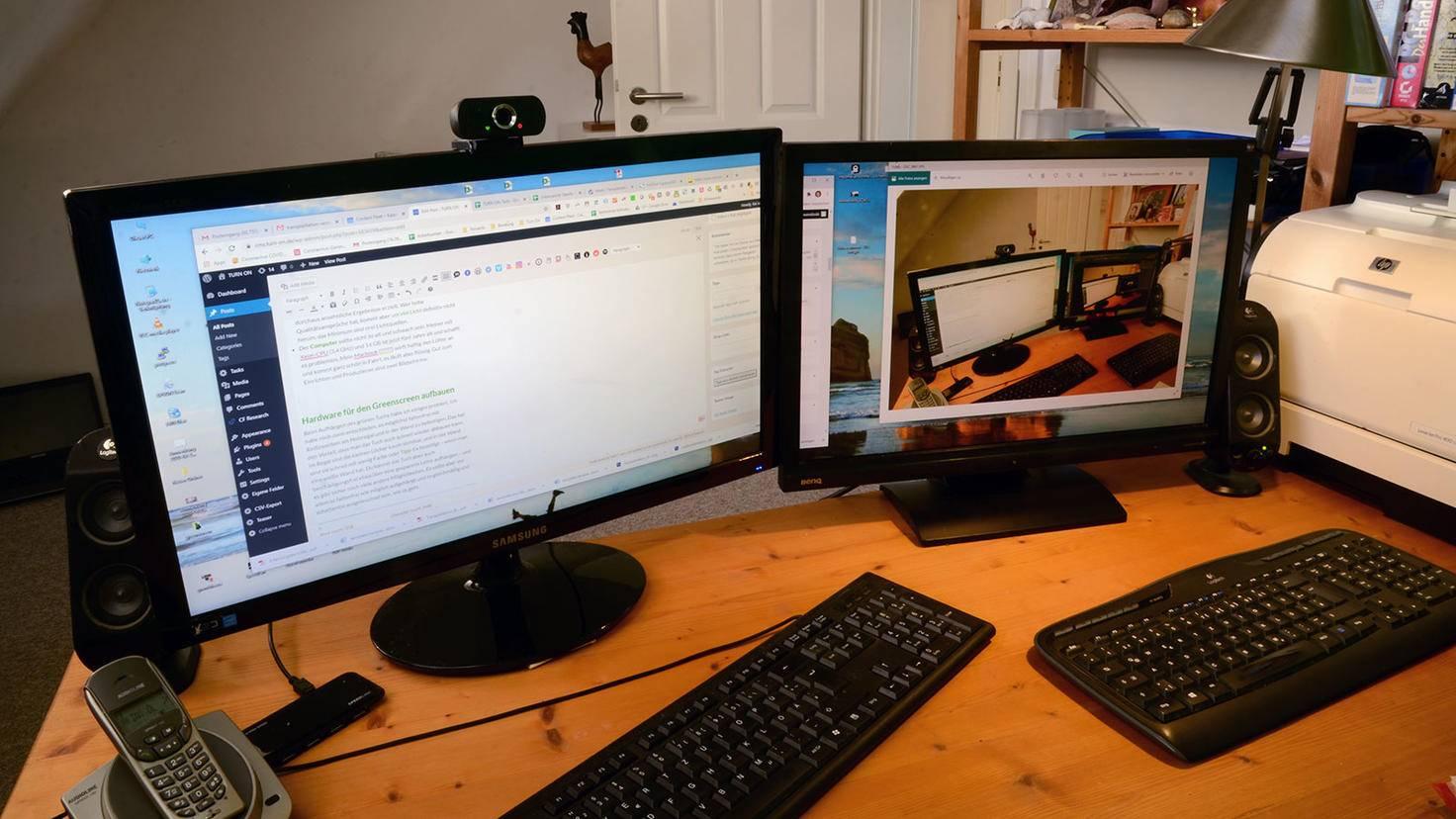 Greenscreen Home-Office 2 Bildschirme
