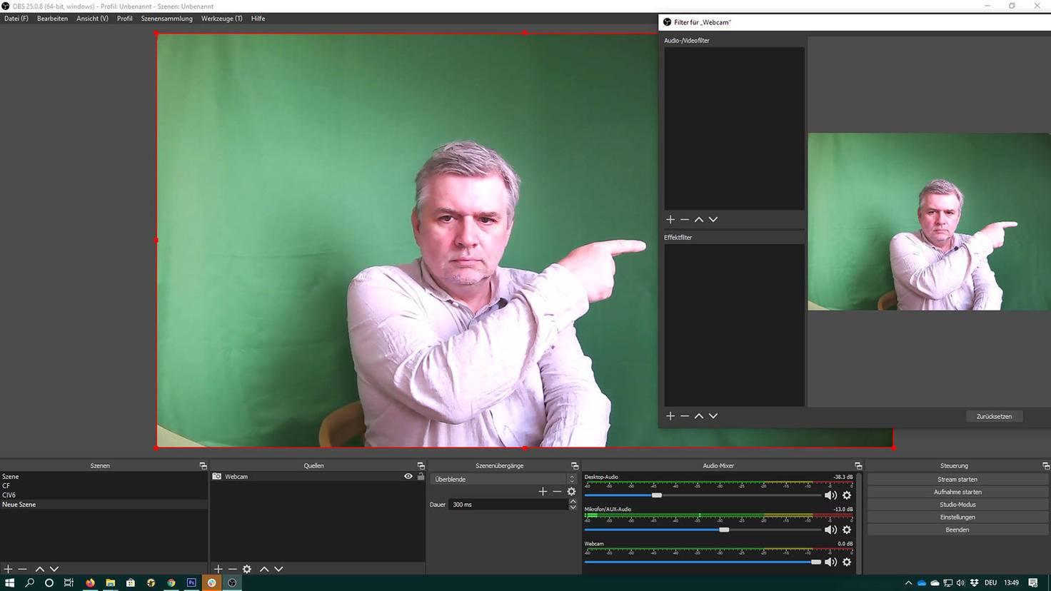 OBS Studio einstellen: Effektfilter wählen