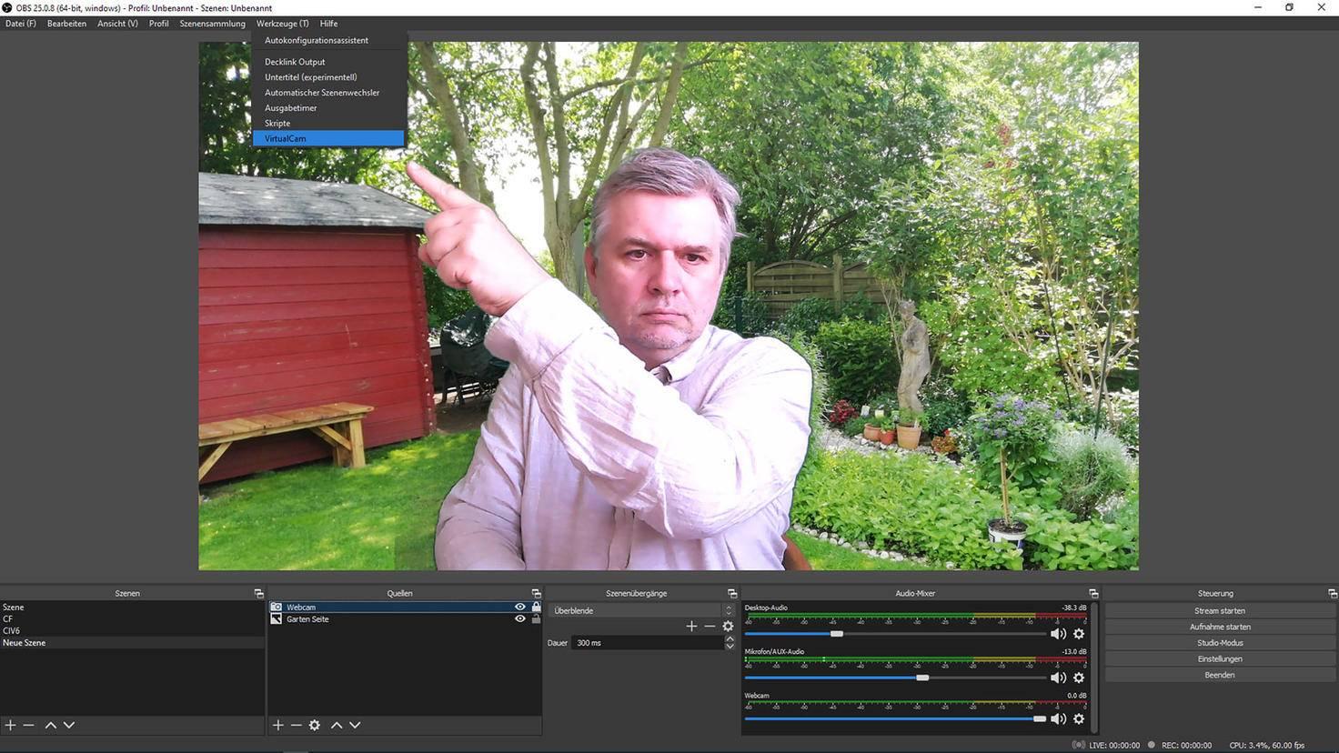 OBS Studio einstellen: Virtual Cam starten