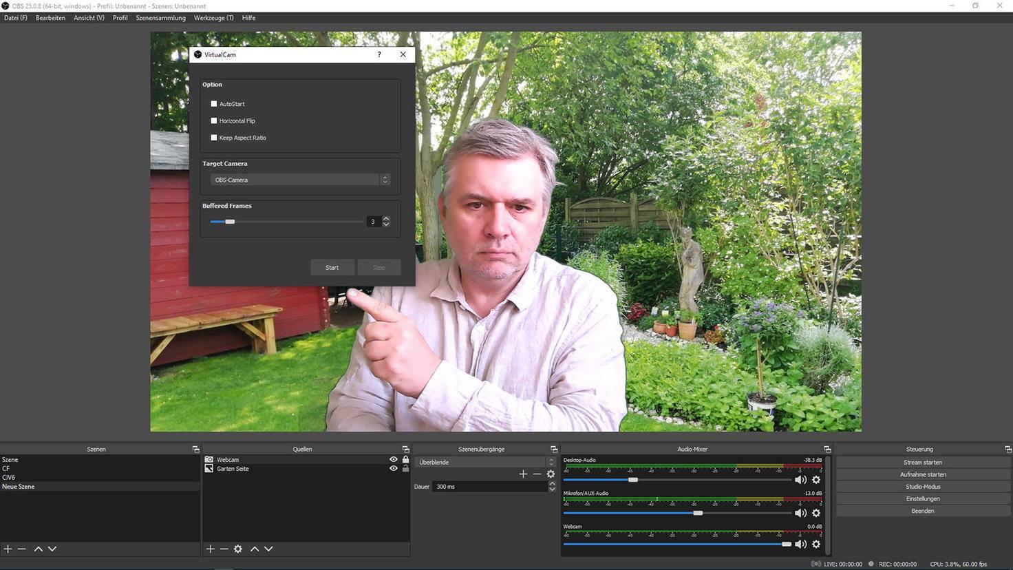 OBS Studio einstellen: Virtual Cam