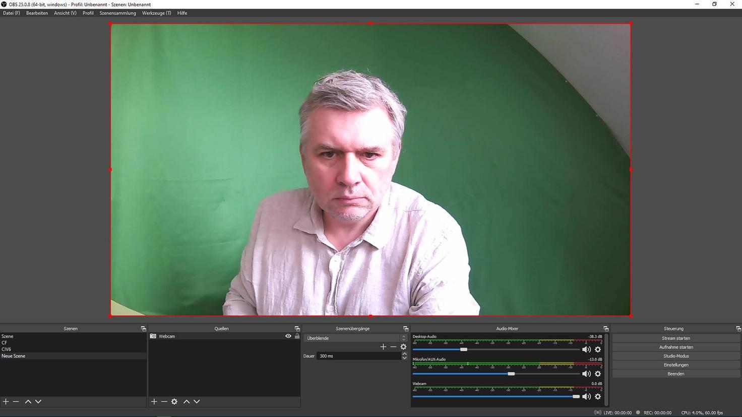 OBS Studio einstellen: Webcam-Bild