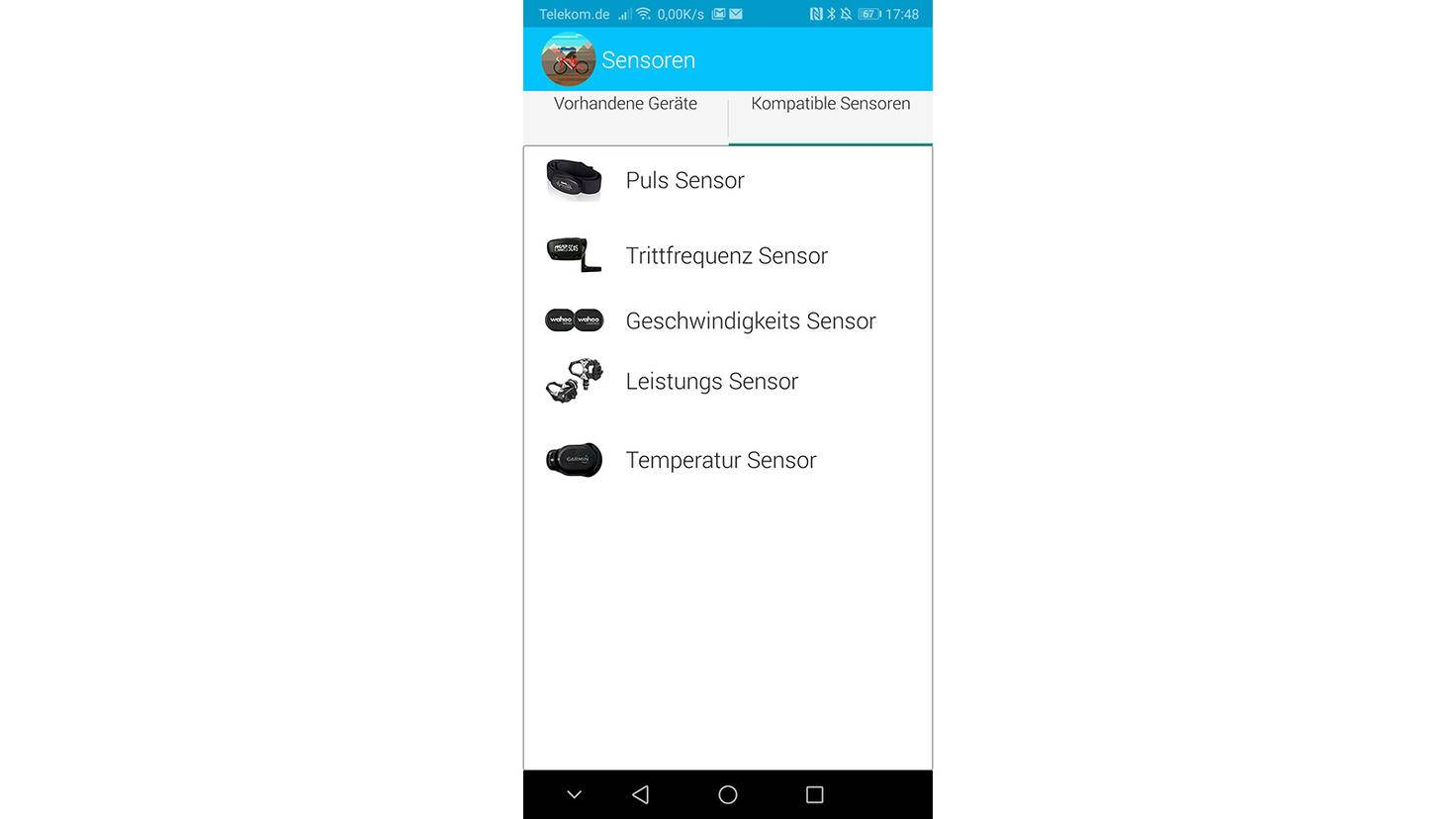 Sensoren konfigurieren bei BikeComputer Pro
