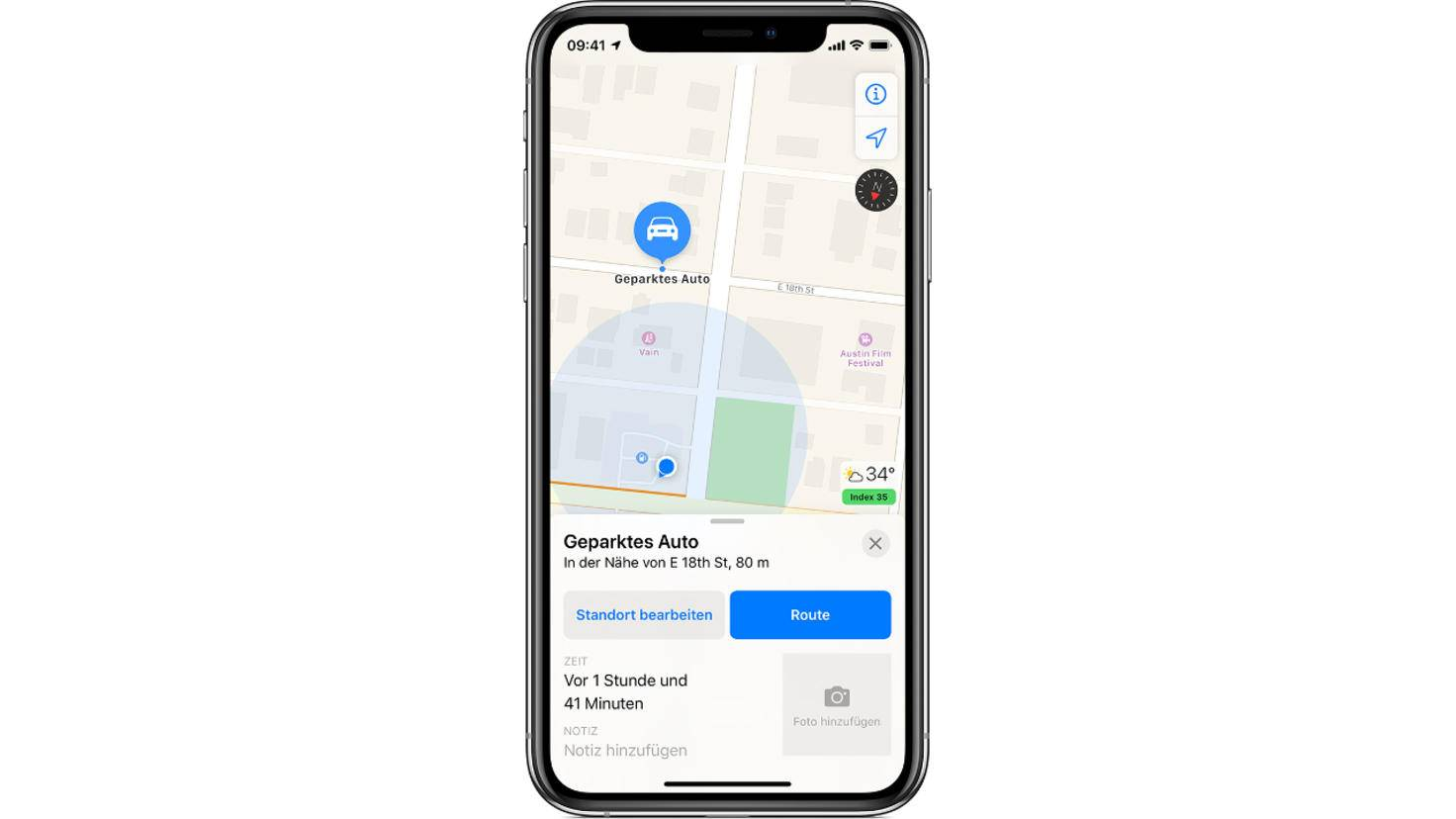 Apple Karten geparktes Auto