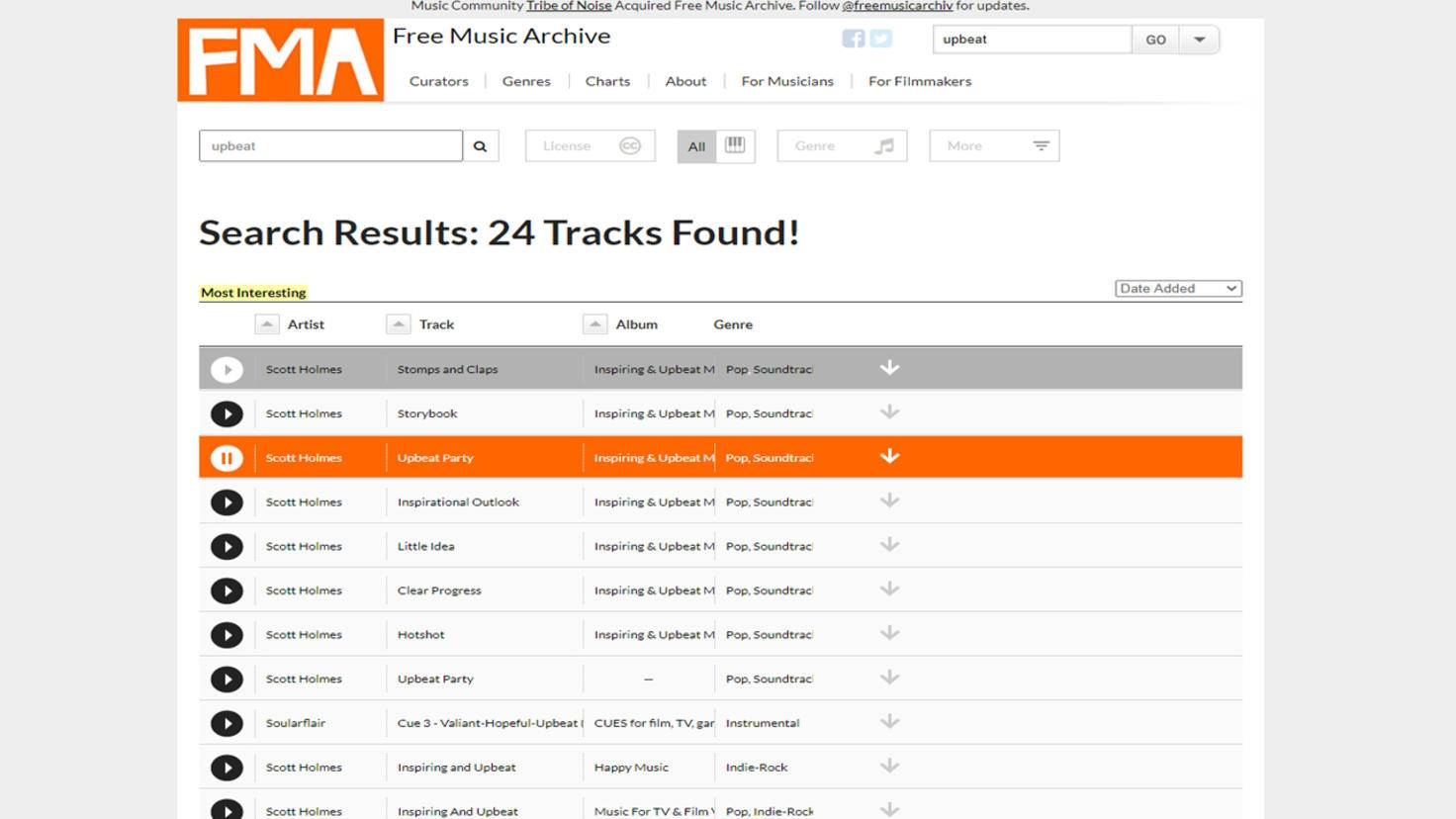 Free Music Archive lizenzfreie Musik