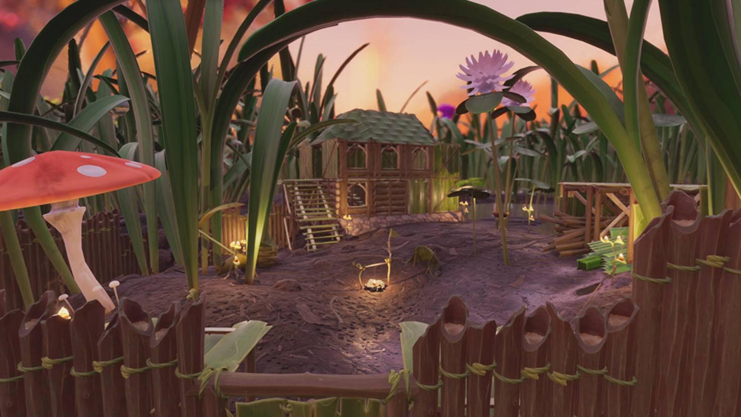 """Bis Du eine solche Festung Dein Eigen nennen darfst, musst Du """"Grounded"""" ein bisschen länger spielen. Für den Anfang tut's auch ein Häuschen aus Gras."""