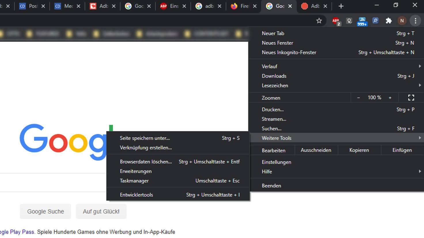 """Die Erweiterungen in Google Chrome finden sich unter """"Weitere Tools""""."""