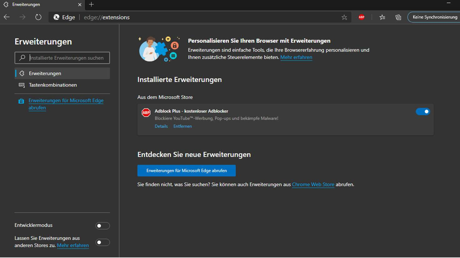 Adblock Plus in Edge deaktivieren