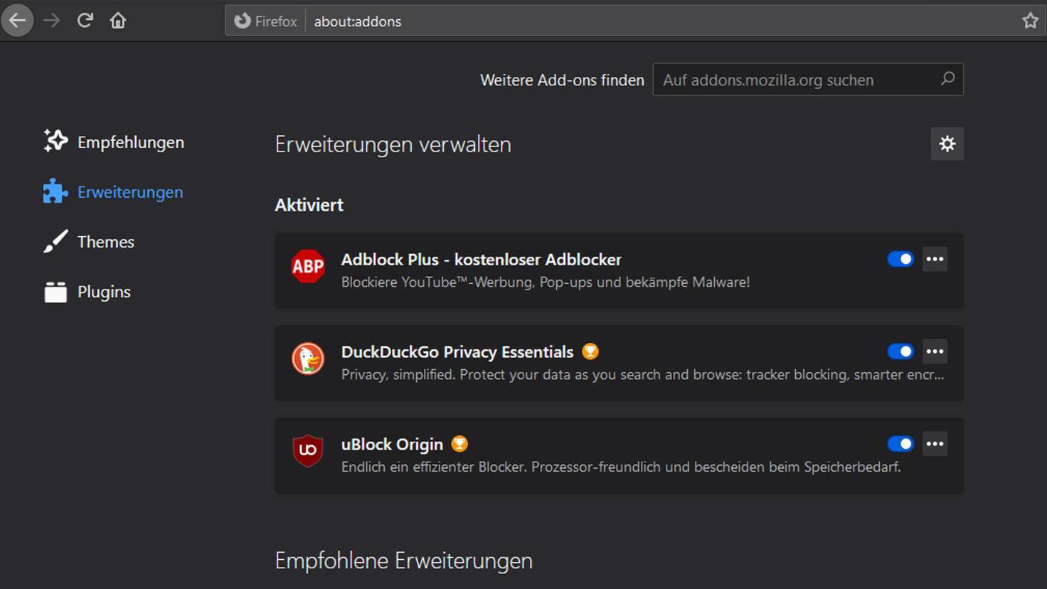 Die Erweiterungen heißen bei Firefox Add-ons