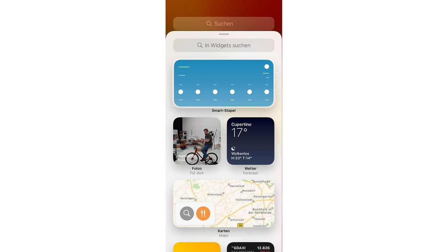 Neu ist der Smart-Stapel, eine Bündelung von bis zu zehn Widgets.