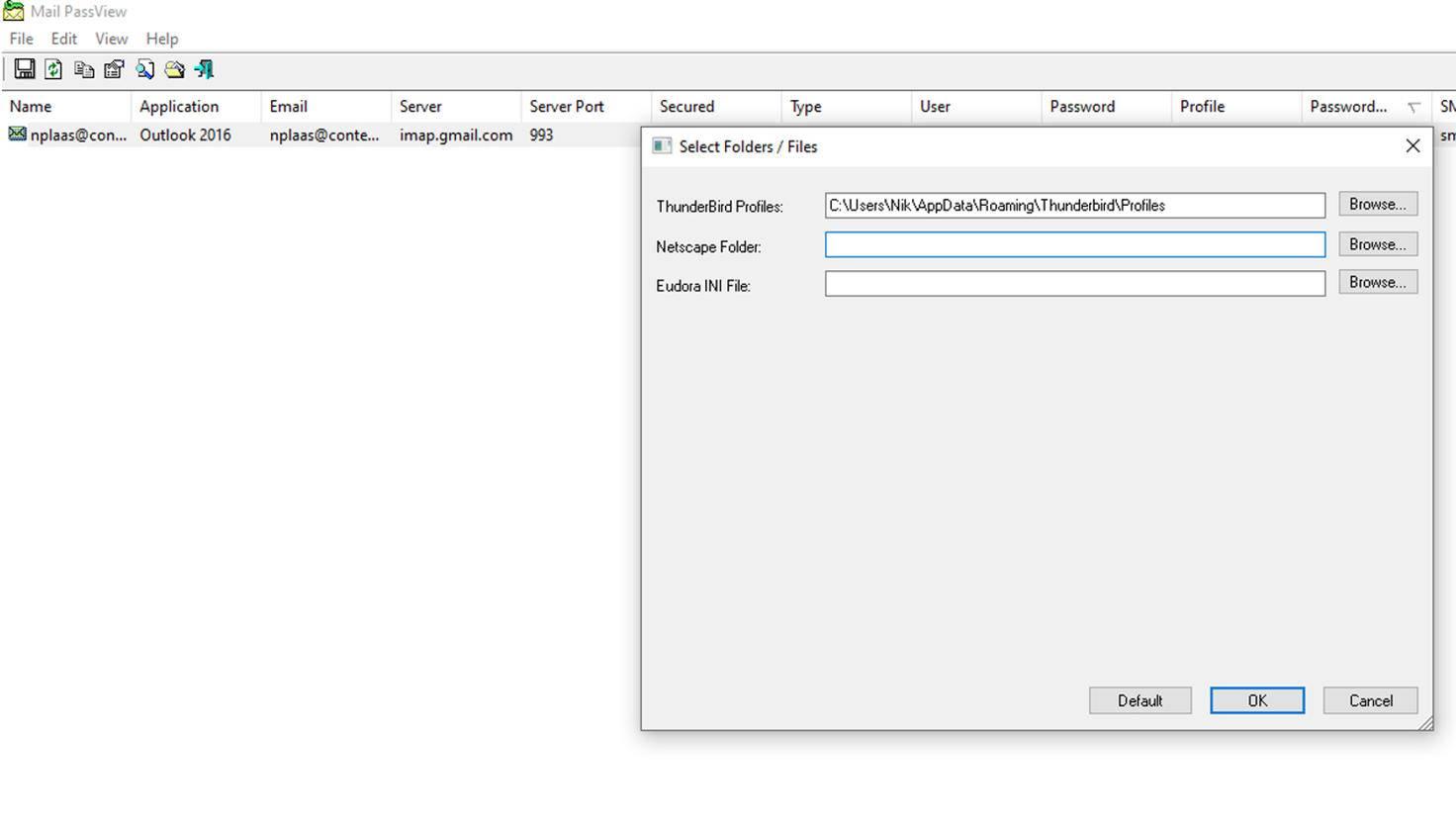 Mail PassView 1.90 zum Auslesen von Outlook-Passwörtern