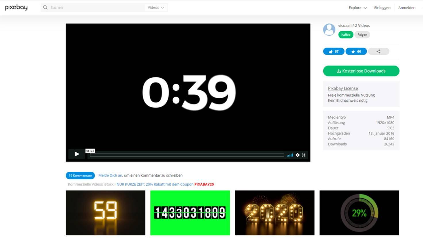 video effekte kostenlos countdown pixabay