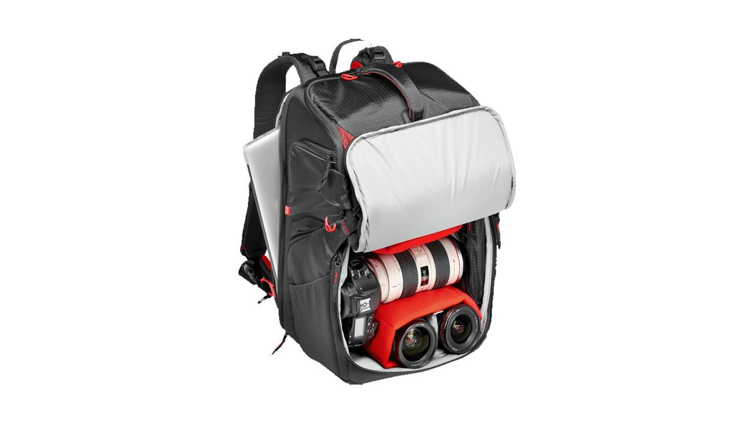 Er bietet Platz für viel Foto-Equipment, ...