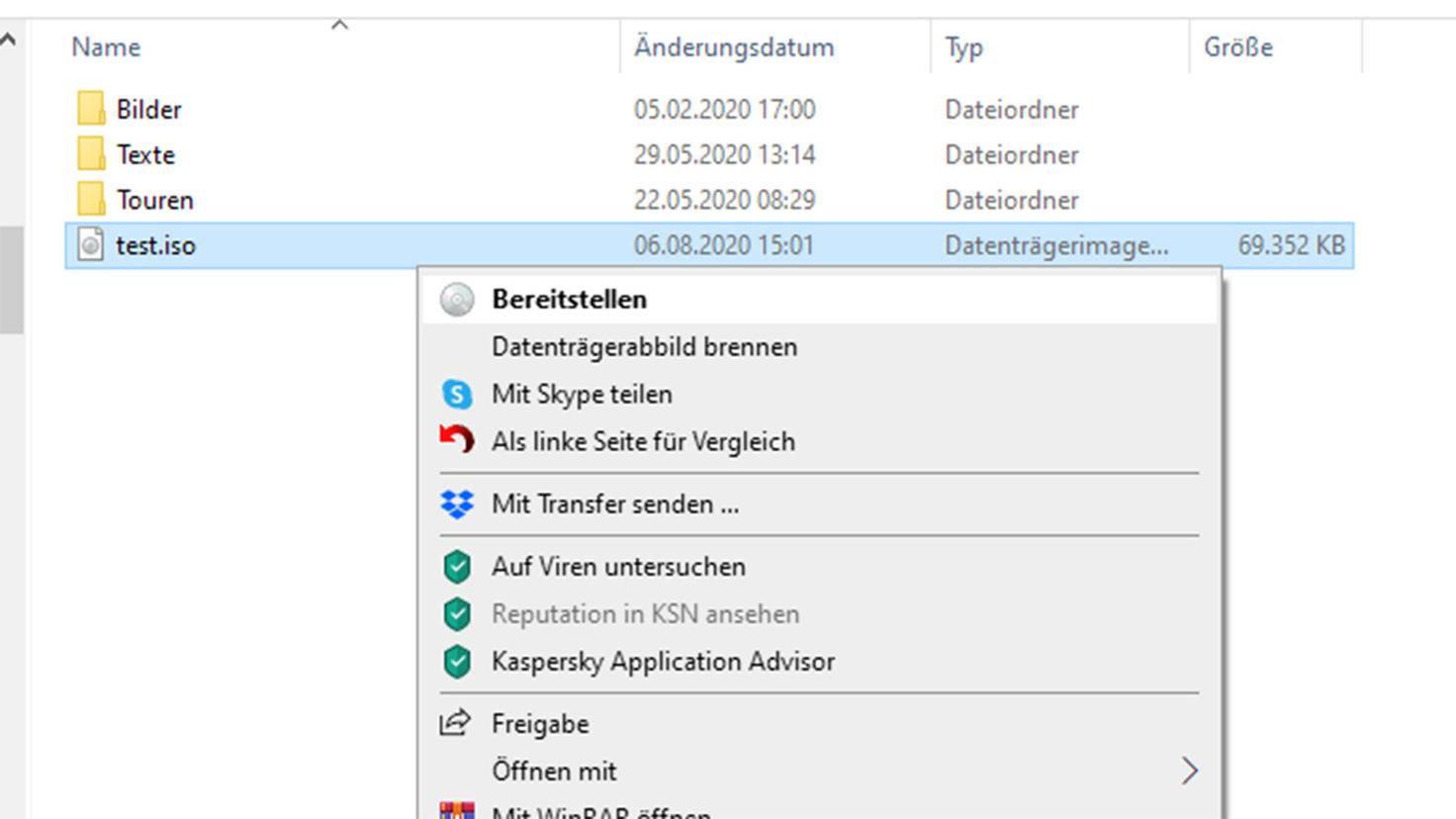ISO-Datei unter Windows erstellen: Bereitstellen der Daten.