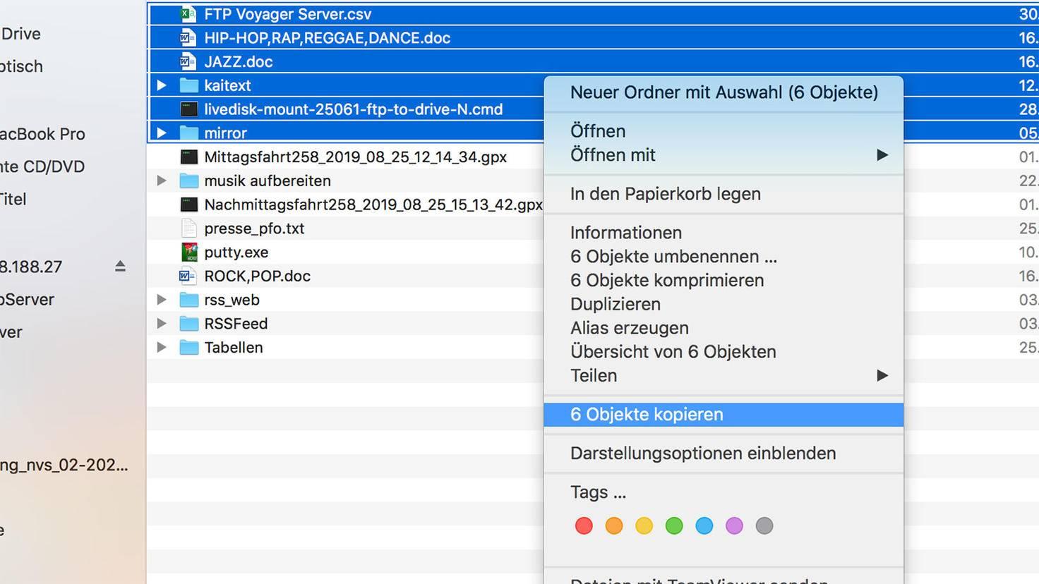 Zip-Datei erstellen am Mac: Dateien auswählen.