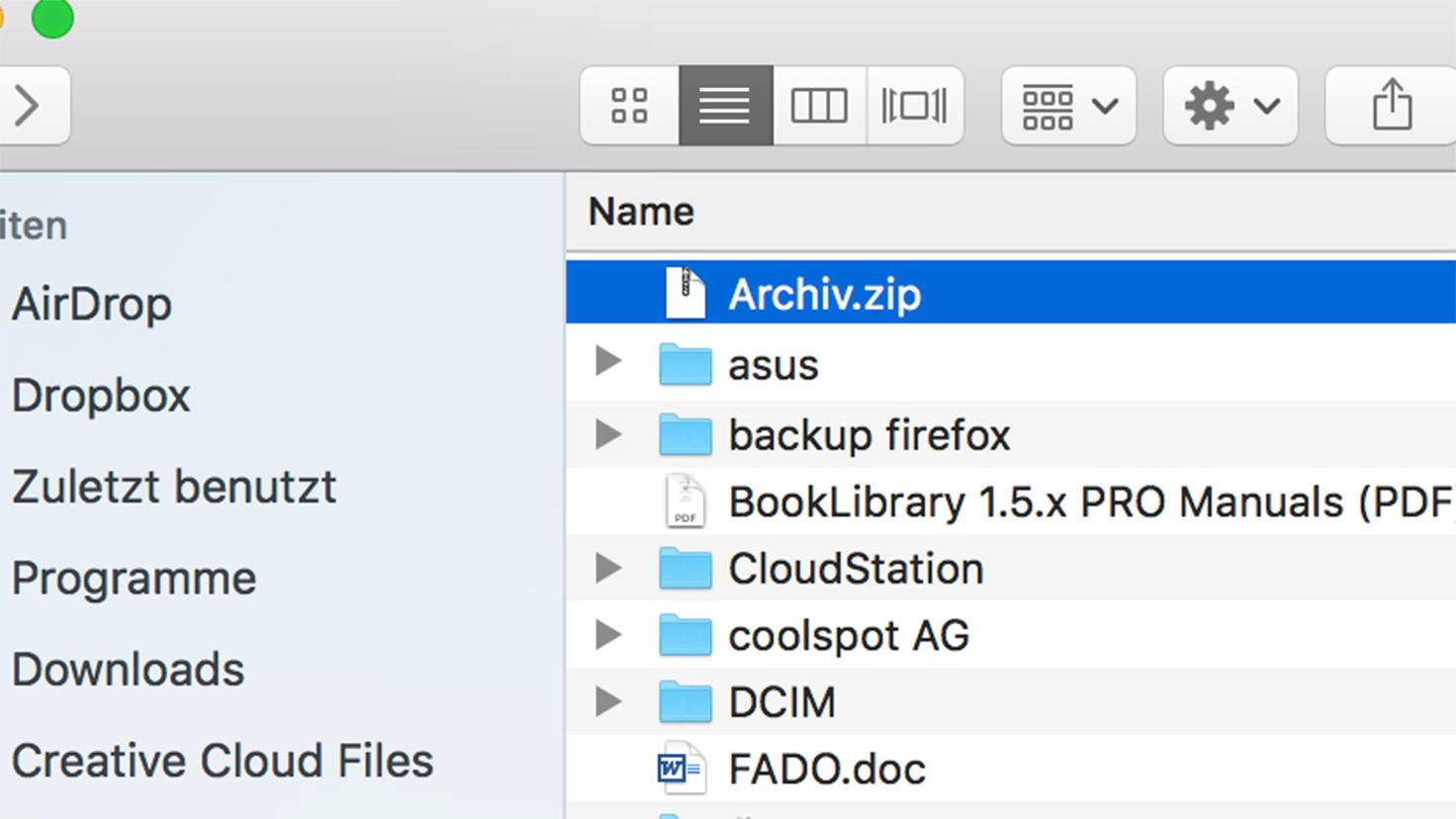 Zip-Datei erstellen am Mac: Das Ergebnis.