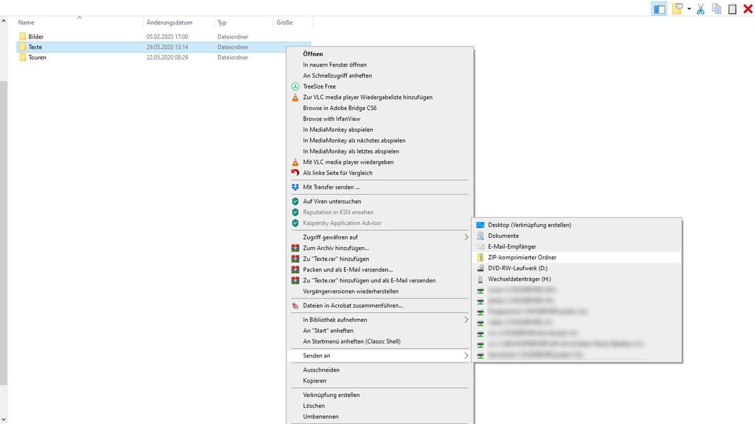 Zip-Datei unter Windows erstellen: Dateien auswählen