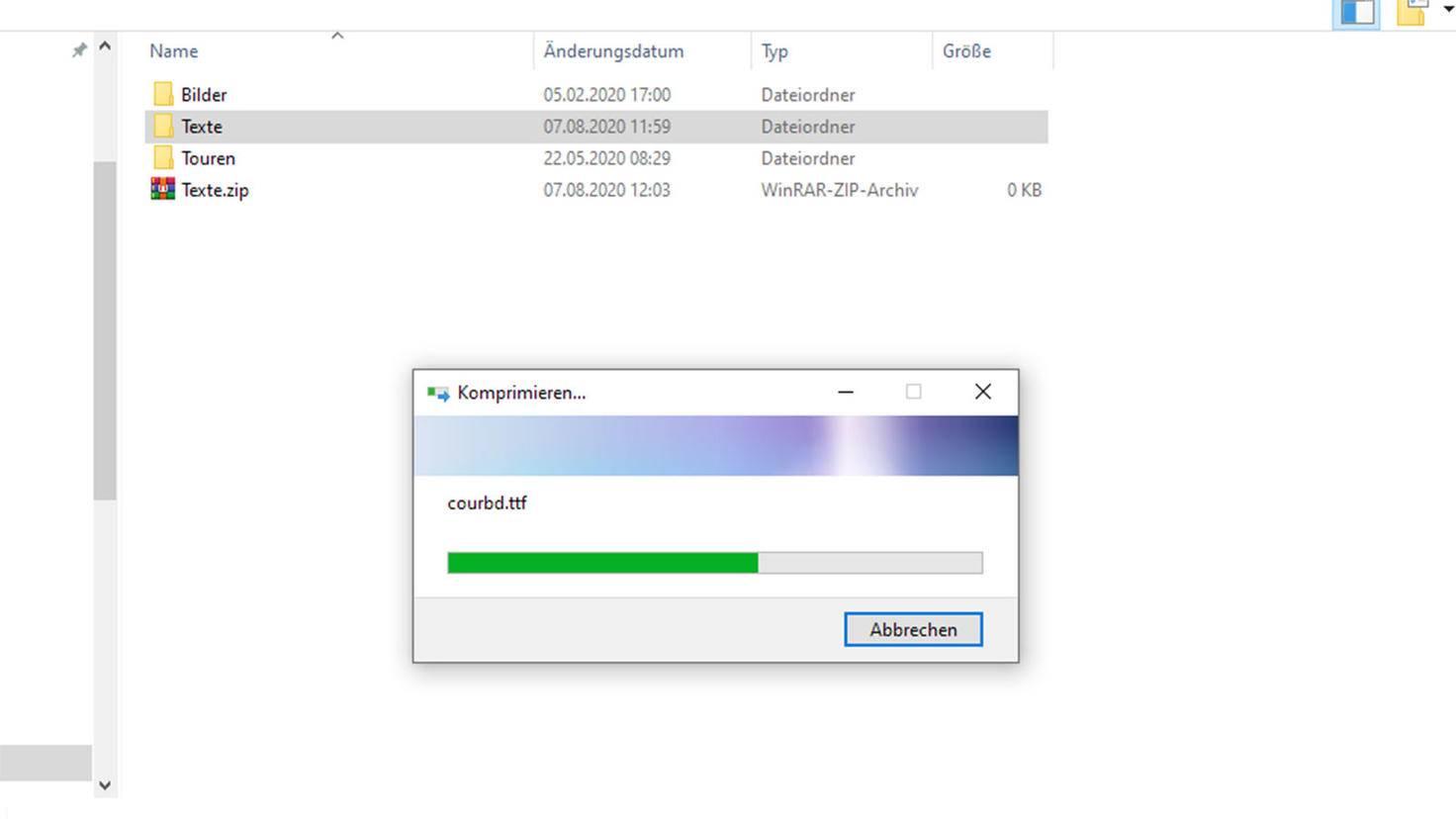 Zip-Datei unter Windows erstellen: Archiv wird erstellt